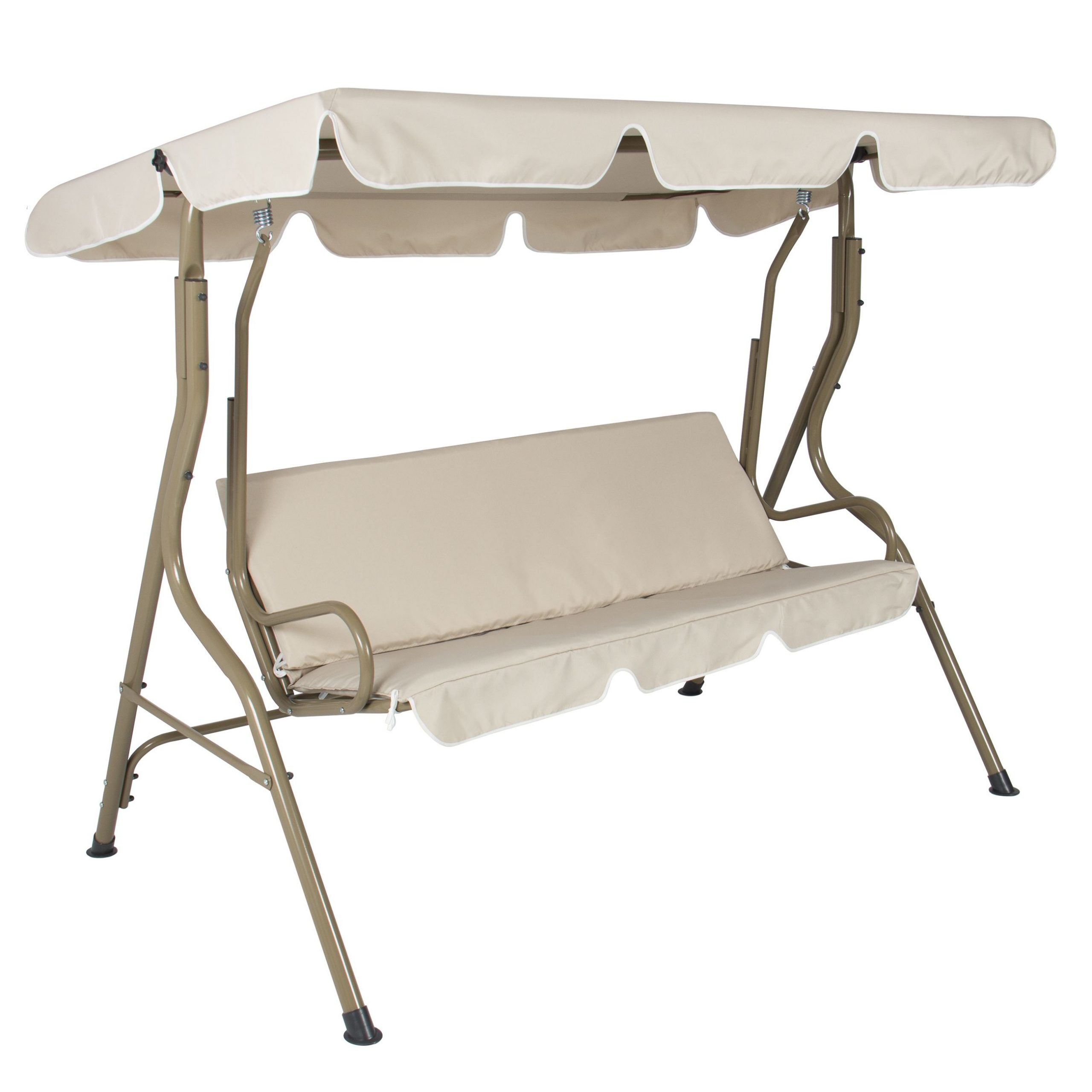 Featured Image of 2 Person Outdoor Convertible Canopy Swing Gliders With Removable Cushions Beige