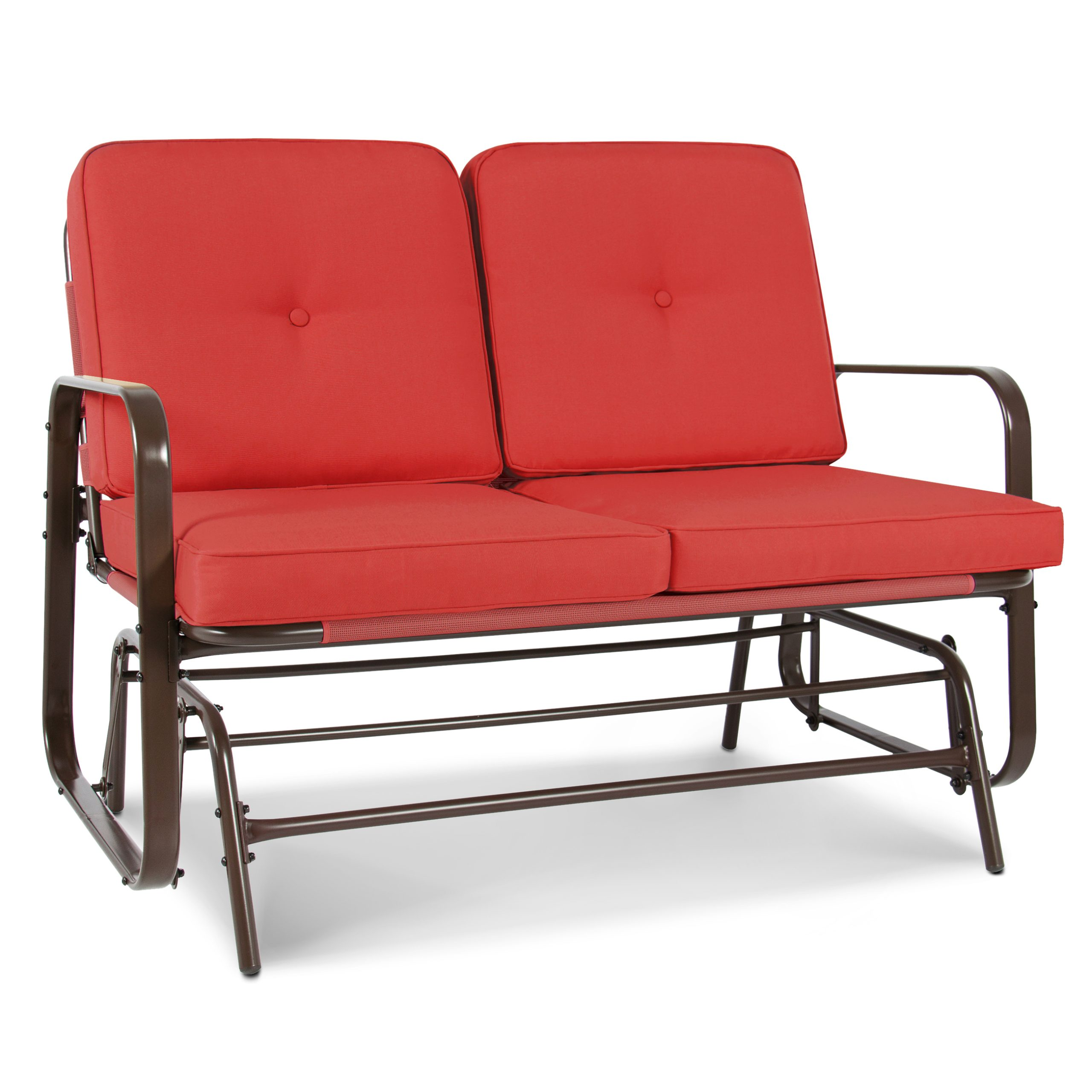Best Choice Products 2 Person Outdoor Patio Glider Loveseat Rocking Chair  W/ Uv Resistant Cushions – Red Orange Pertaining To 2 Person Antique Black Iron Outdoor Gliders (Image 3 of 25)