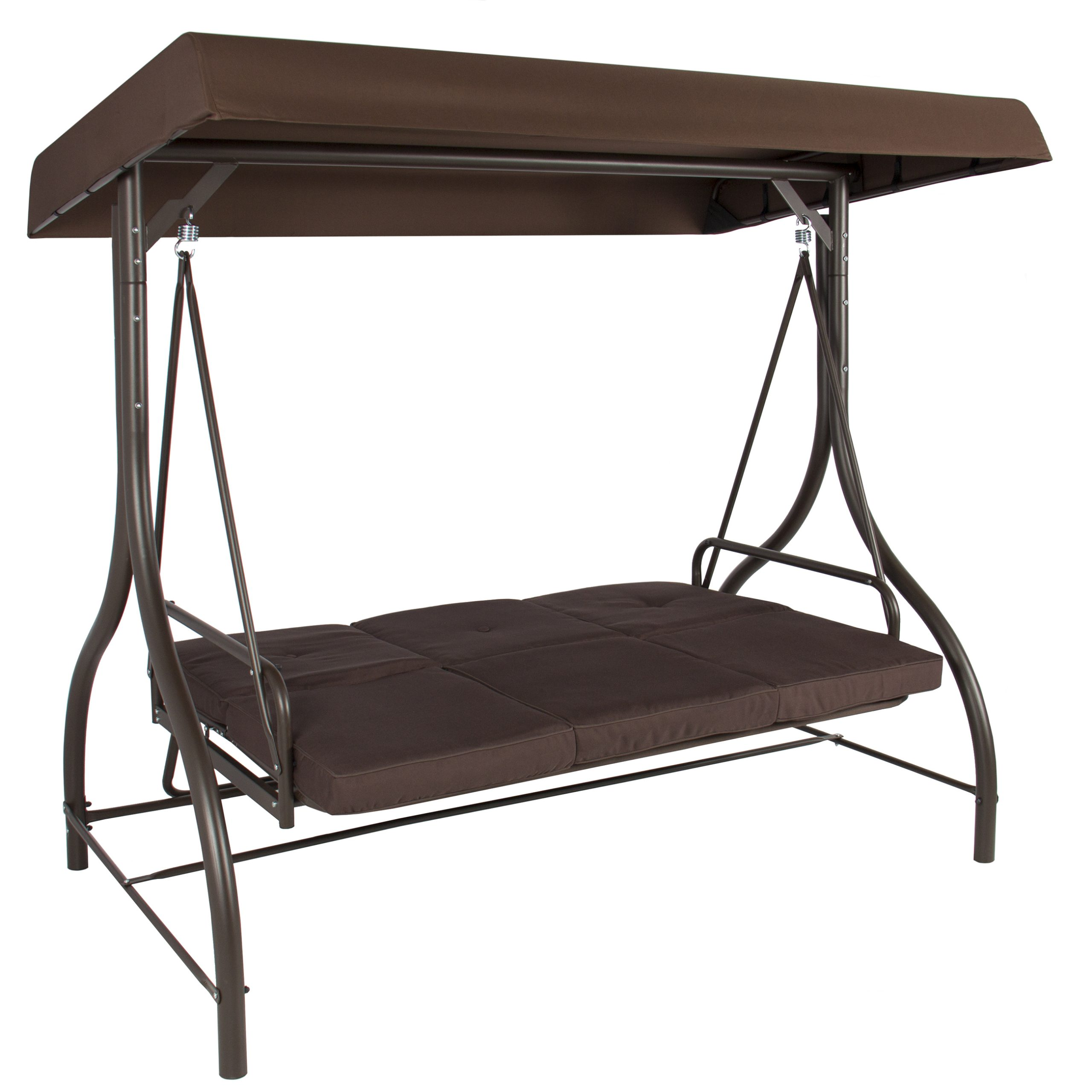 Best Choice Products 3 Person Canopy Swing – Brown Regarding 3 Person Brown Steel Outdoor Swings (View 7 of 25)