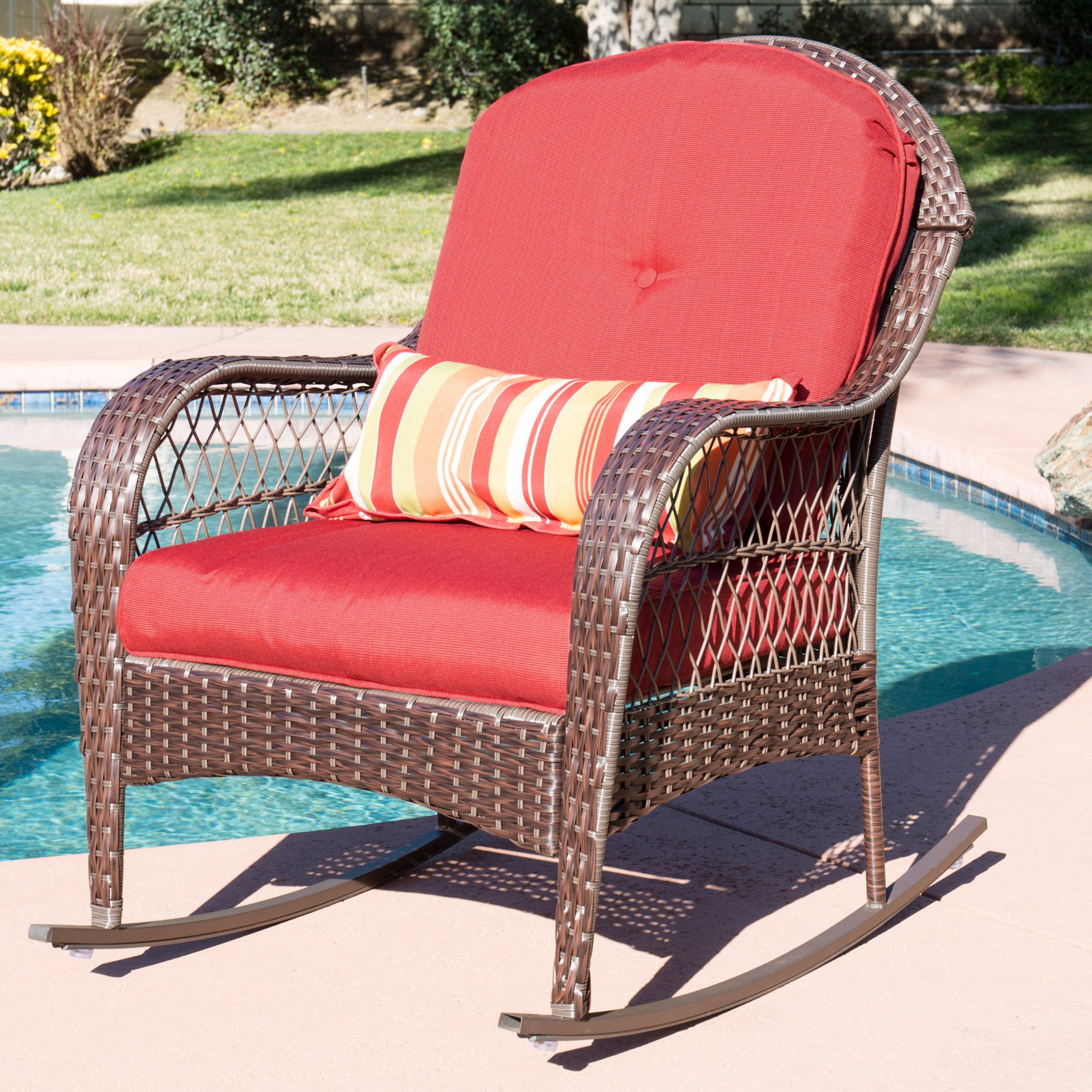 Best Choice Products Outdoor Wicker Patio Rocking Chair W With Regard To Rocking Benches With Cushions (View 5 of 25)