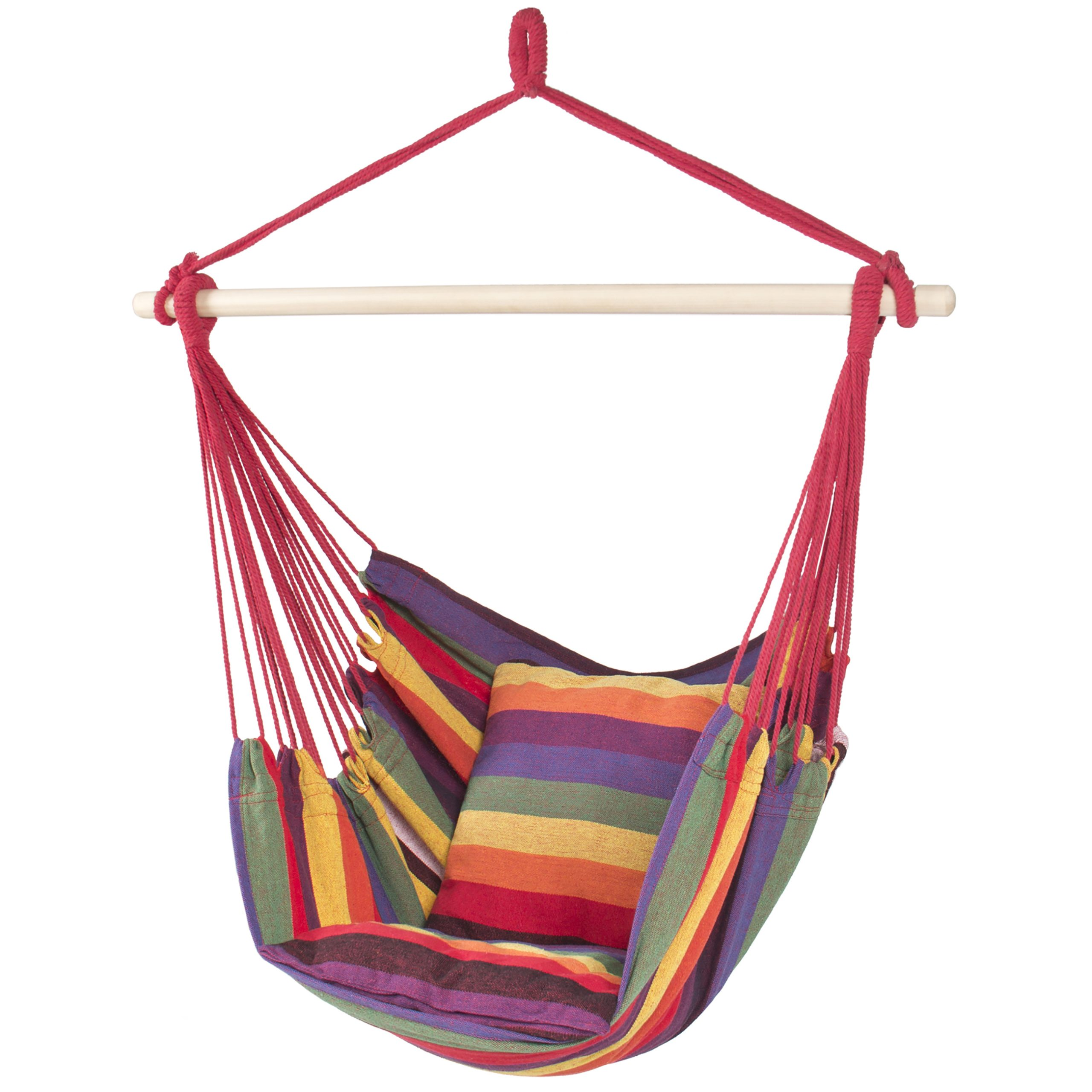 Best Choice Products Portable Hanging Cotton Hammock Rope Chair Swing, Red Stripe – Walmart Regarding Cotton Porch Swings (View 11 of 25)
