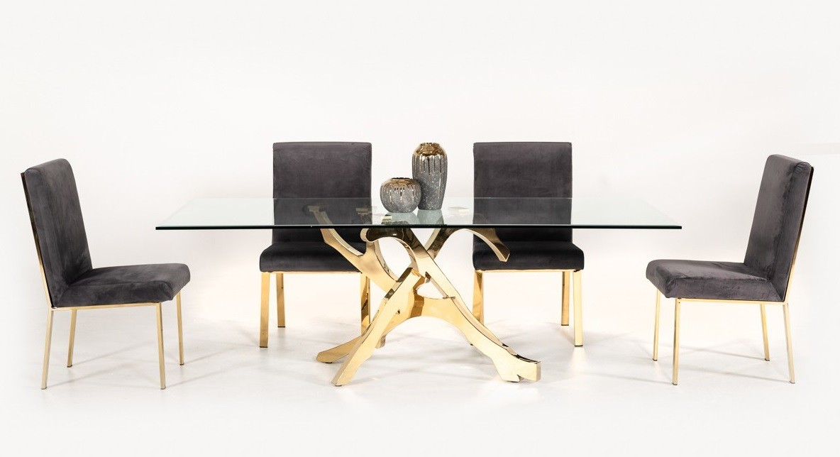 Best Modern Contemporary Furniture Stores Orlando Miami Inside Modern Gold Dining Tables With Clear Glass (View 17 of 26)