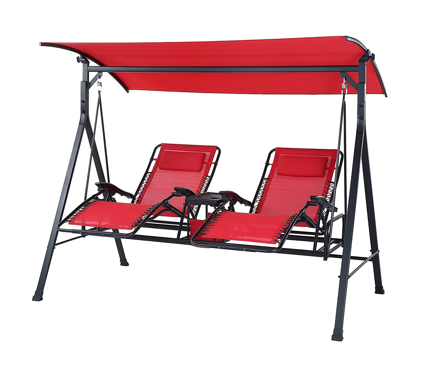 Best Outdoor Reclining Zero Gravity Swing [2020 Update Intended For Canopy Patio Porch Swings With Pillows And Cup Holders (View 9 of 25)