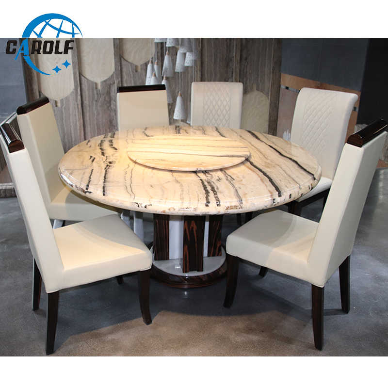 Best Price Modern 6 Chairs Marble Top Round Dining Table With Regard To 6 Seater Retangular Wood Contemporary Dining Tables (View 19 of 25)