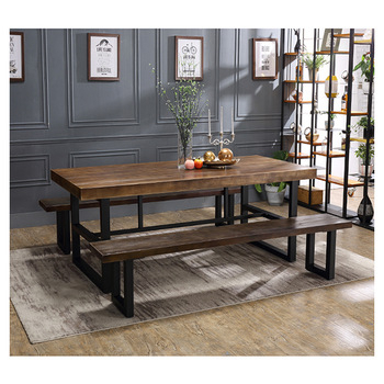 Best Price Rectangle Black Iron Dine Table Wood Top Metal Base Dining Tables – Buy Metal Base Dining Tables,best Price Dining Tables,wood Top Dining With Regard To Iron Wood Dining Tables (View 12 of 25)