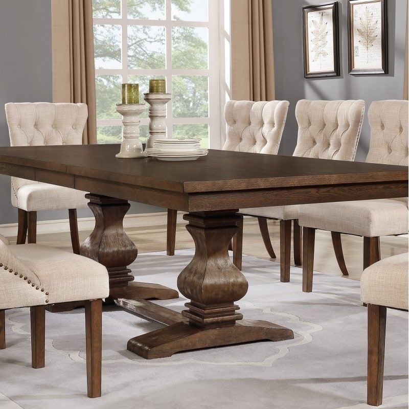Best Quality Furniture Rectangular Walnut Extension Dining Regarding Transitional Antique Walnut Square Casual Dining Tables (View 12 of 25)