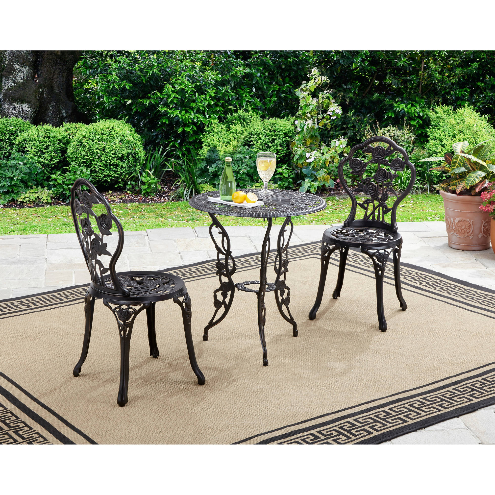 Better Homes And Gardens Rose 3 Piece Outdoor Bistro Set Inside 2 Person Antique Black Iron Outdoor Swings (View 24 of 25)