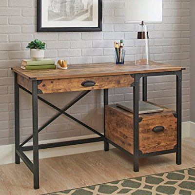 Better Homes And Gardens Rustic Country Desk, Weathered Pine Intended For Country Dining Tables With Weathered Pine Finish (Image 6 of 25)