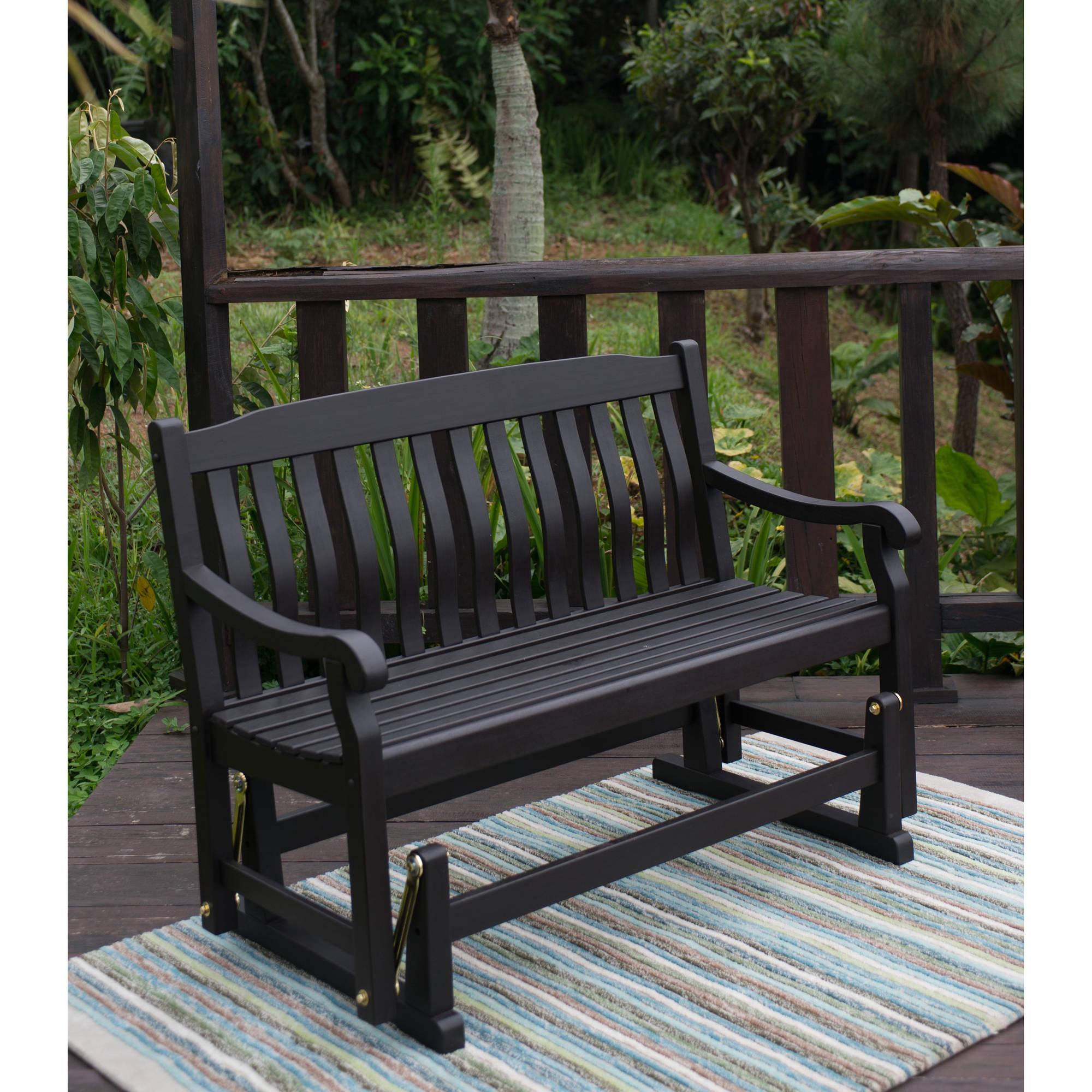 Better Homes & Gardens Delahey Outdoor Glider Bench, Dark Brown – Walmart With Regard To Loveseat Glider Benches (View 21 of 25)
