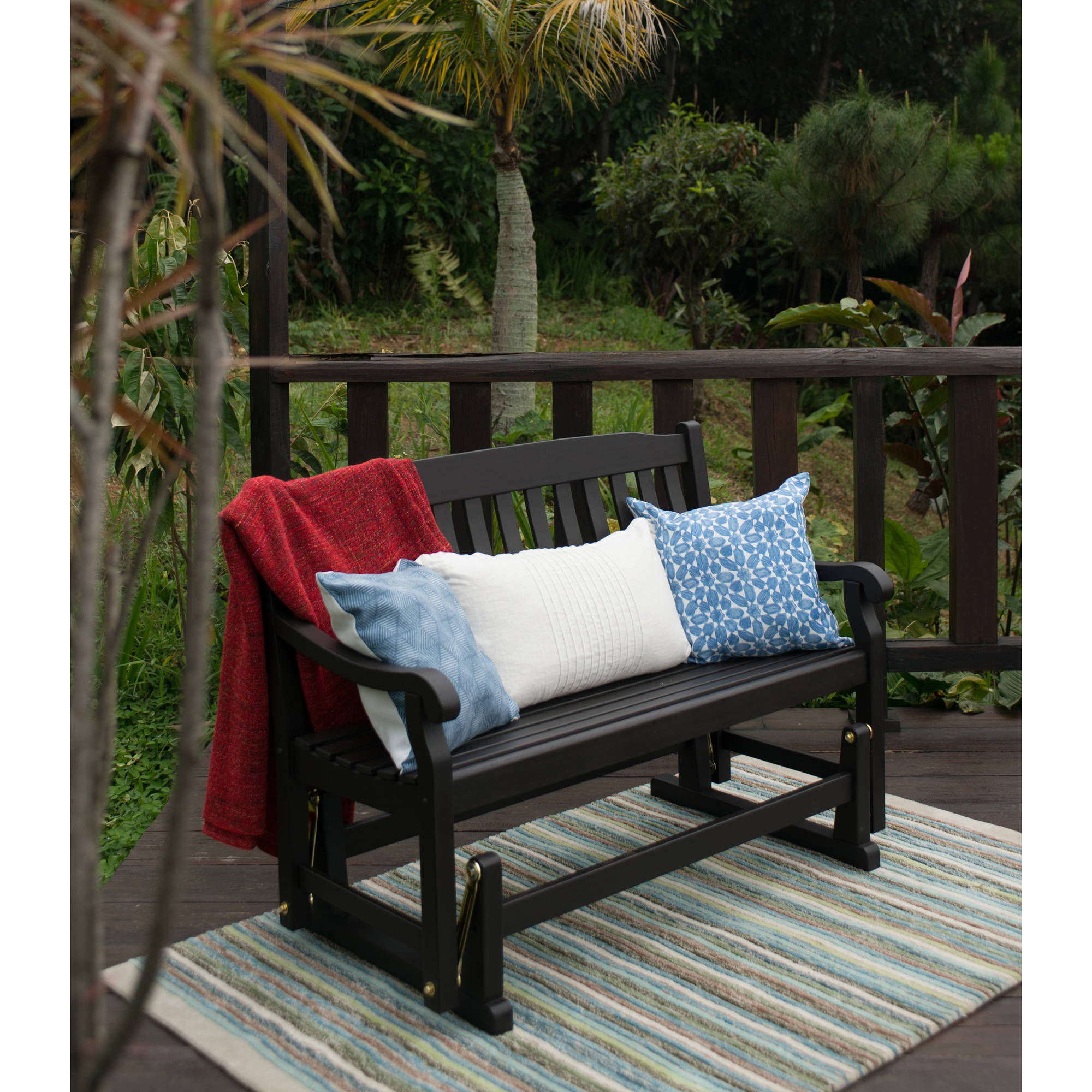 Better Homes & Gardens Delahey Outdoor Glider Bench, Dark Inside Hardwood Porch Glider Benches (View 9 of 25)