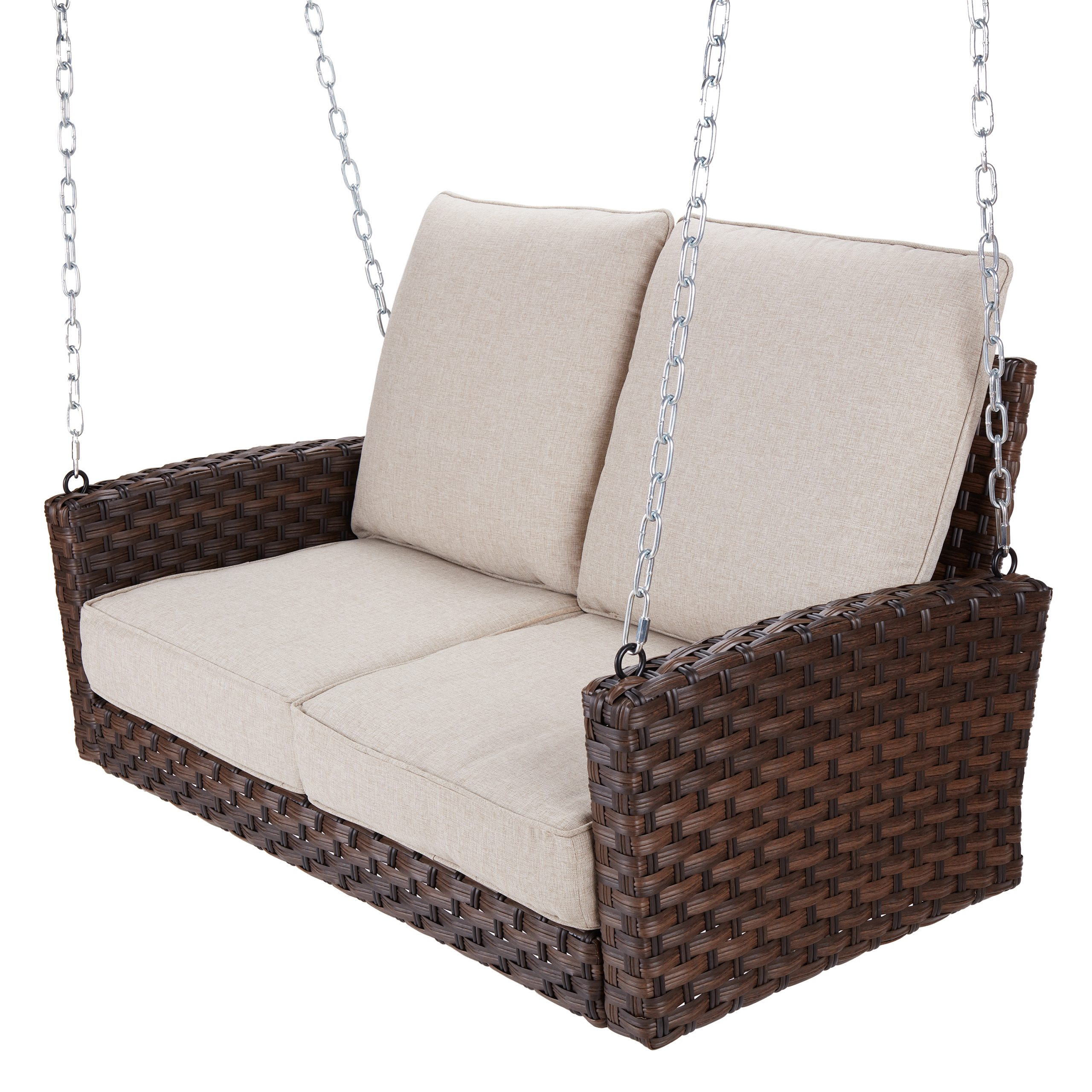 Better Homes & Gardens Hensley Outdoor Wicker Porch Swing Throughout 2 Person Outdoor Convertible Canopy Swing Gliders With Removable Cushions Beige (View 18 of 25)