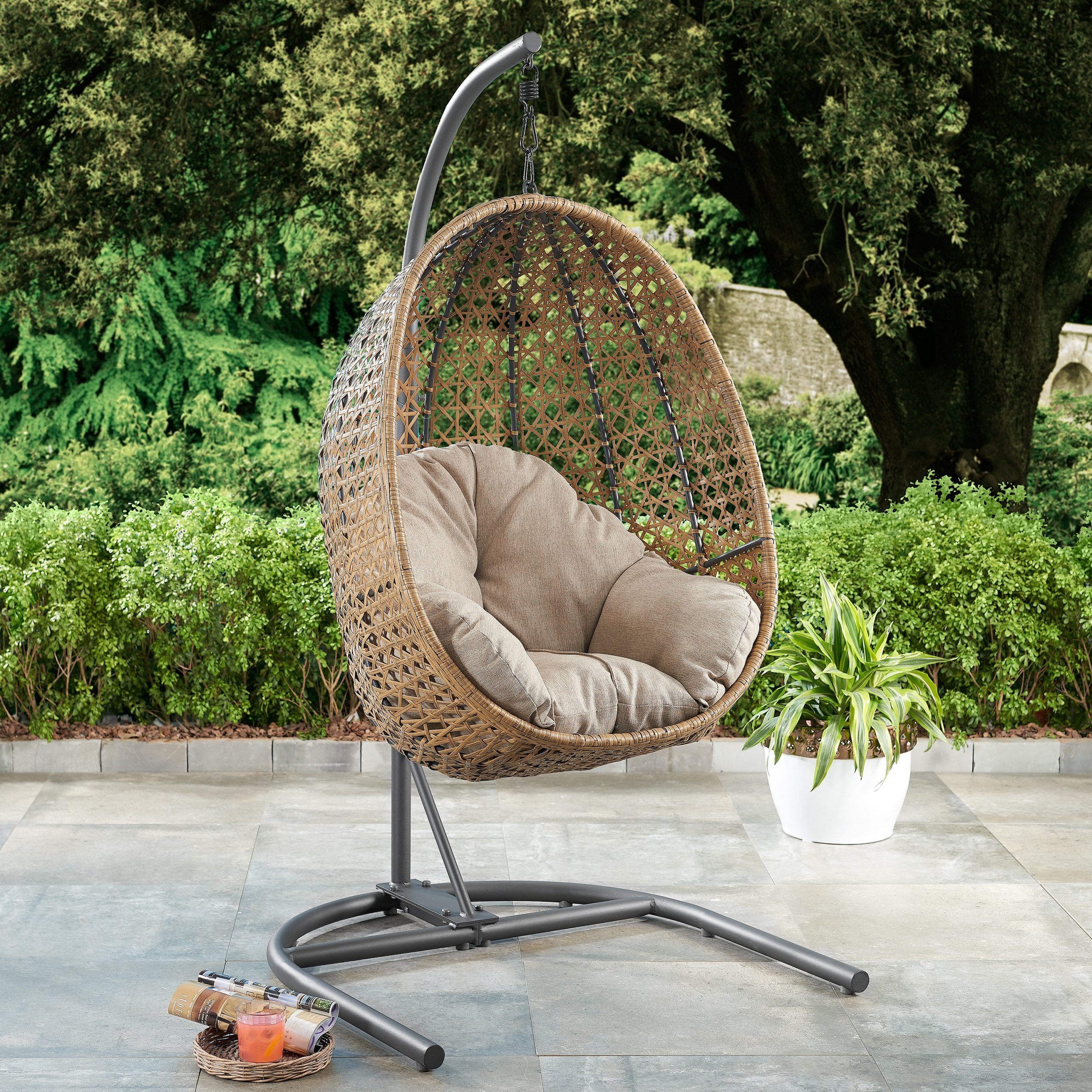 Better Homes & Gardens Lantis Patio Wicker Hanging Chair With Regard To Outdoor Wicker Plastic Tear Porch Swings With Stand (View 24 of 25)