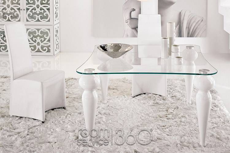 Bexley Square Dining Table W/ White Lacquer Legs Intended For Frosted Glass Modern Dining Tables With Grey Finish Metal Tapered Legs (View 10 of 25)