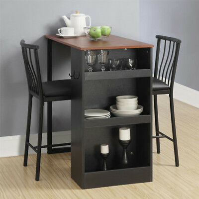 Bistro 3 Piece Dining Set Dinette Table Chairs Nesting Pub Within 3 Pieces Dining Tables And Chair Set (View 10 of 25)