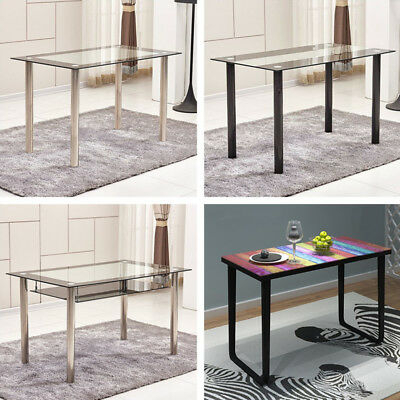 Black/clear/rainbow Tempered Glass Dining Table Metal Legs Inside Glass Dining Tables With Metal Legs (View 24 of 25)