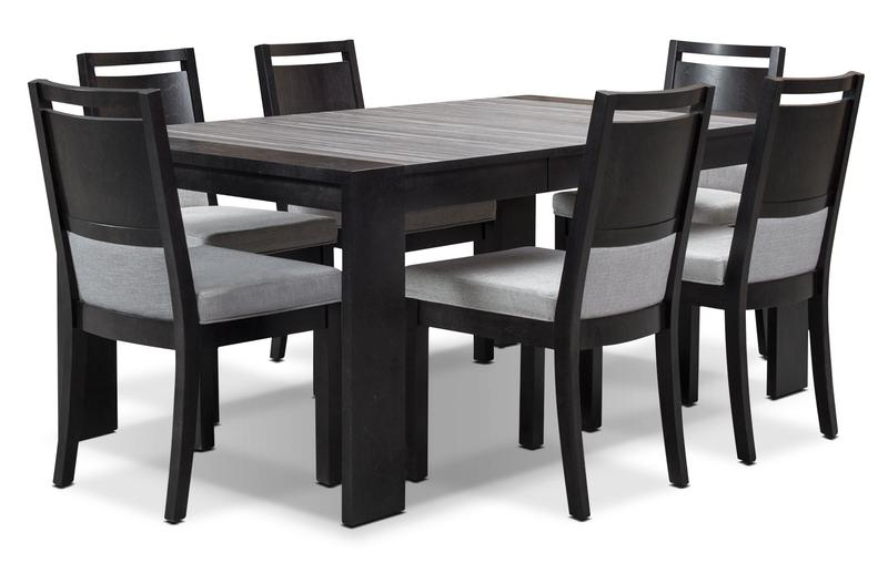 Black Dining Table And Chairs House Room Packages Leon Within 8 Seater Wood Contemporary Dining Tables With Extension Leaf (View 9 of 25)