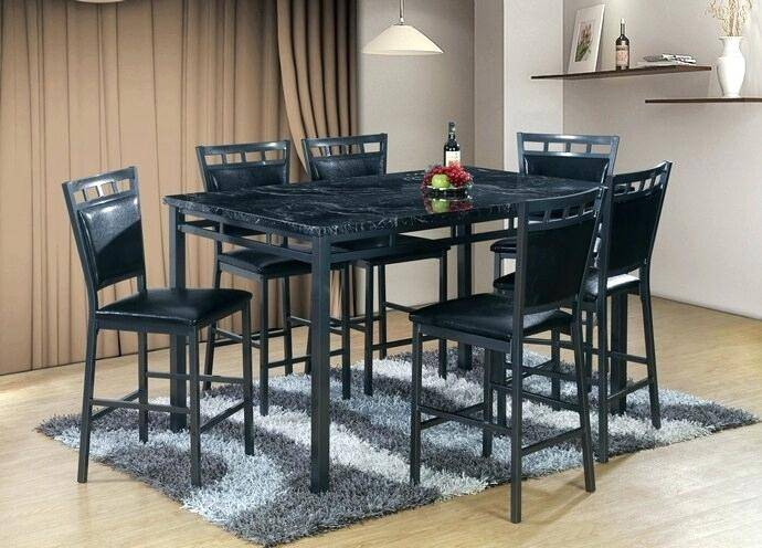Black Marble Top Counter Height Dining Set Finish Metal Inside Faux Marble Finish Metal Contemporary Dining Tables (View 11 of 25)