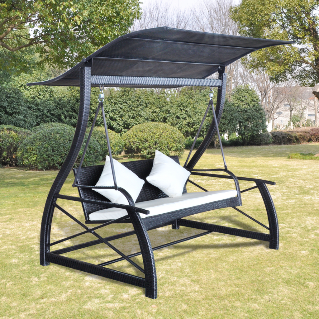 Black Rocking Chair With Rattan Pendant Black Roof – Lovdock Within Outdoor Swing Glider Chairs With Powder Coated Steel Frame (View 7 of 25)