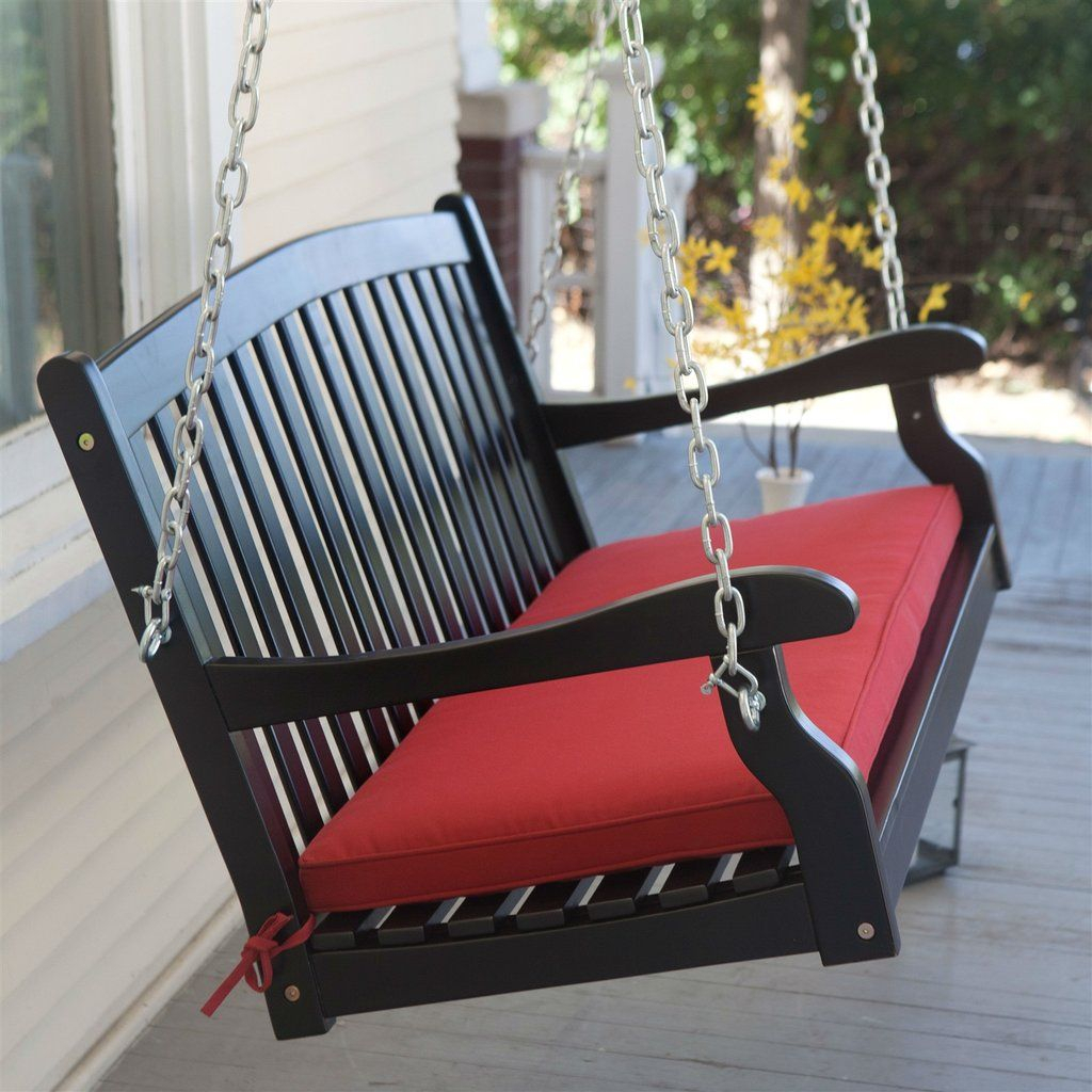Black Wood 4 Ft Porch Swing With Sienna Red Cushion And Intended For A4 Ft Cedar Pergola Swings (Image 10 of 25)