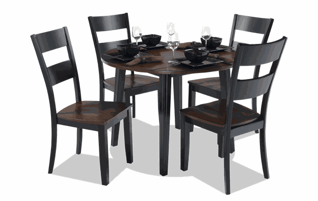 Blake Cherry & Black 5 Piece Drop Leaf Set | Bobs Pertaining To Transitional 3 Piece Drop Leaf Casual Dining Tables Set (View 16 of 25)