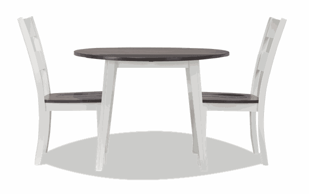 Blake Gray & White 3 Piece Drop Leaf Set | Bobs Within Transitional 4 Seating Drop Leaf Casual Dining Tables (Image 7 of 25)