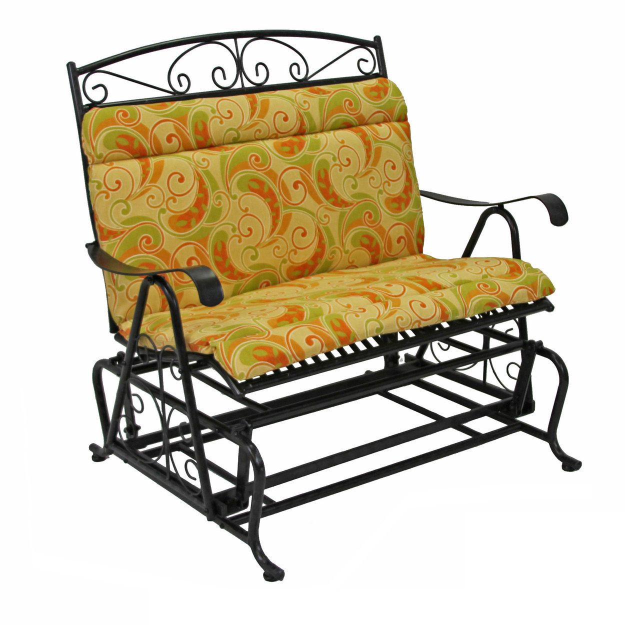 Blazing Needles All Weather Double Glider Chair Cushion – 43 In Outdoor Fabric Glider Benches (View 25 of 25)