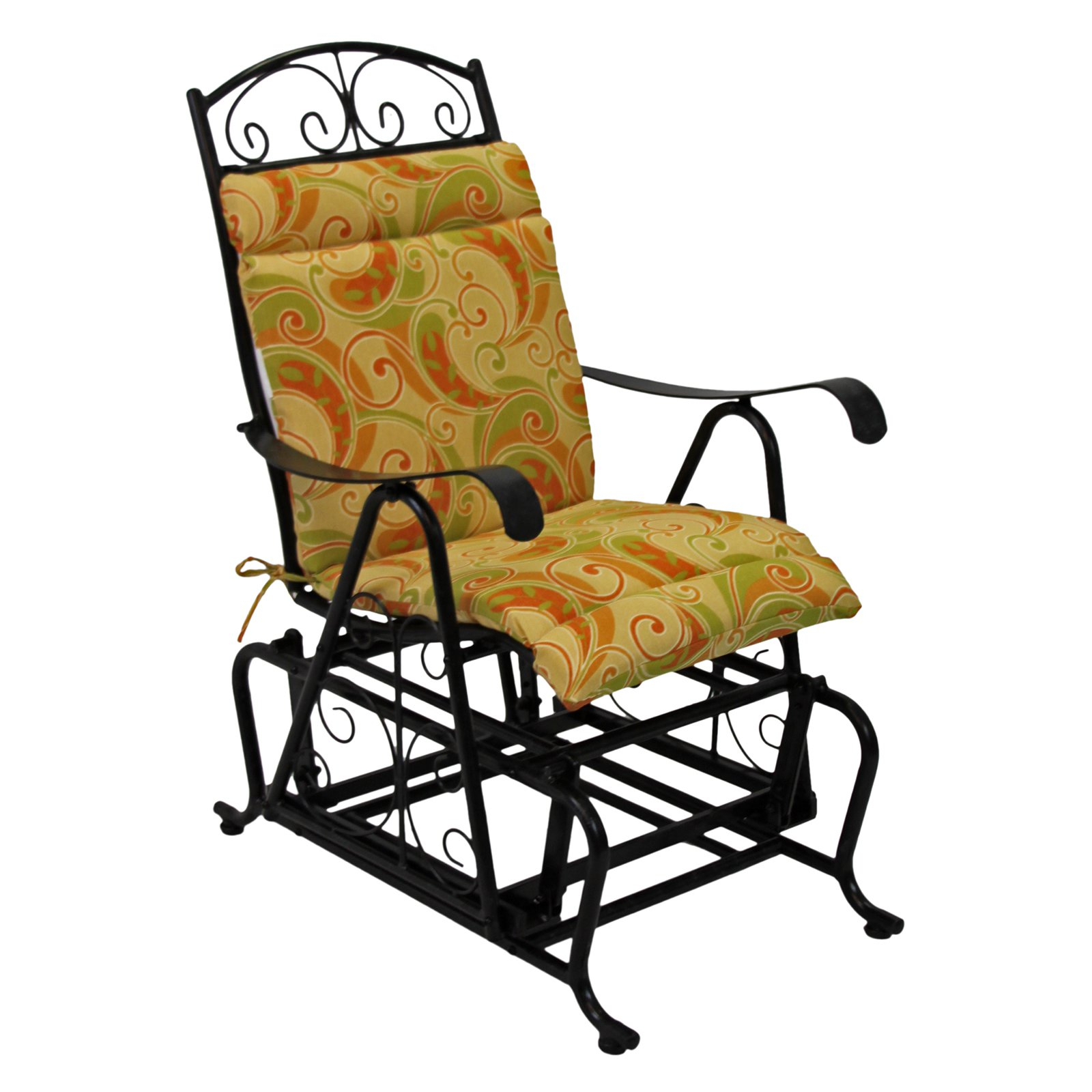 Blazing Needles Outdoor Glider Chair Hinged Seat & Back In Glider Benches With Cushions (View 8 of 25)