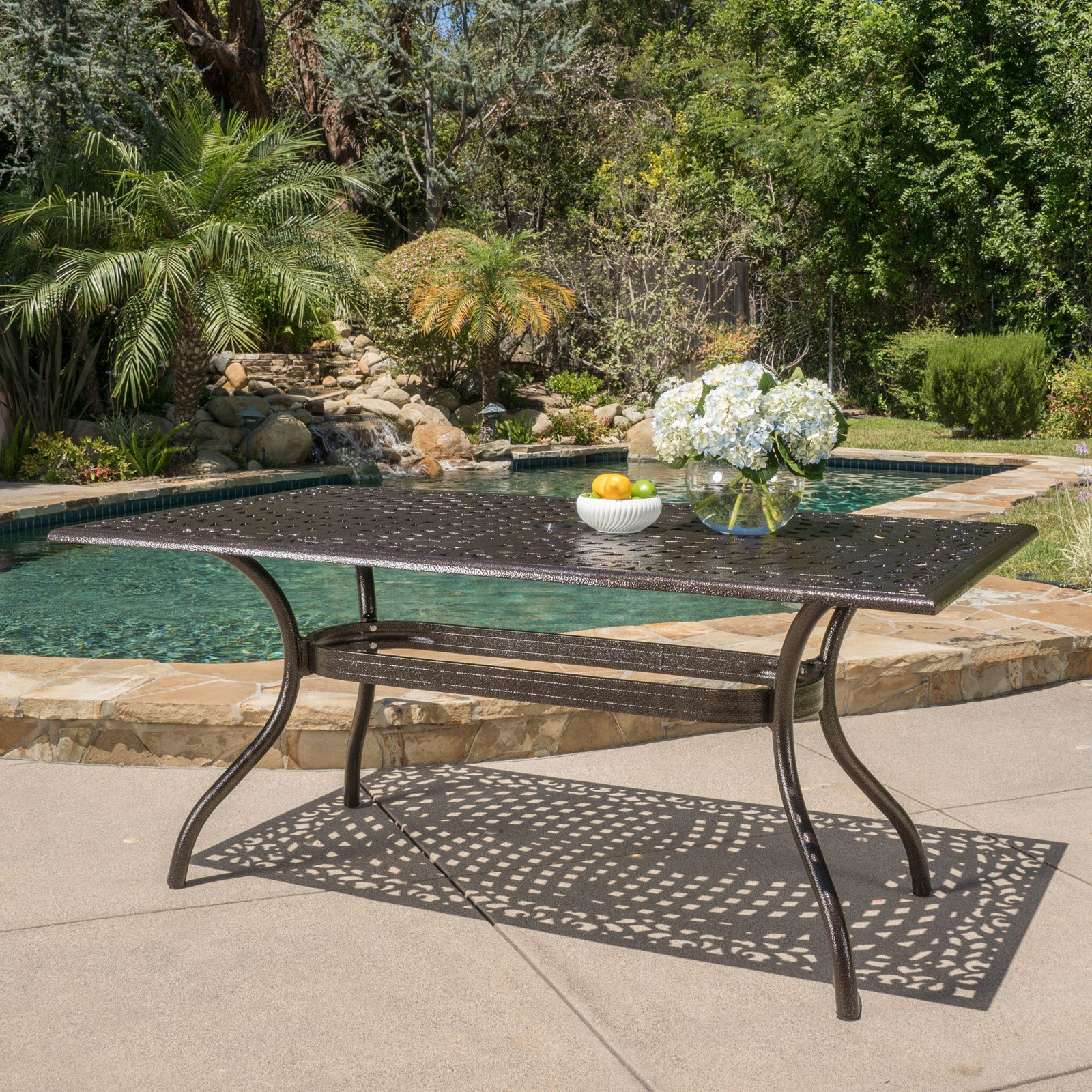 Bogota Cast Aluminum Rectangular Patio Table With Hammered In 2 Person Hammered Bronze Iron Outdoor Swings (Image 1 of 25)