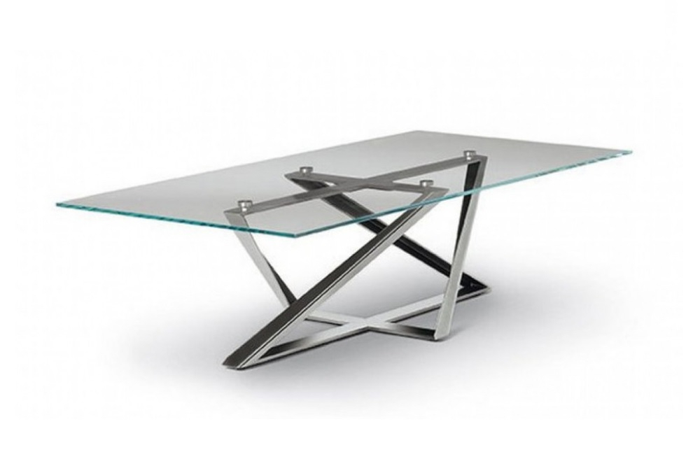 Bontempi – Millennium Table | Contemporary Dining Table In Glass Dining Tables With Metal Legs (View 20 of 25)
