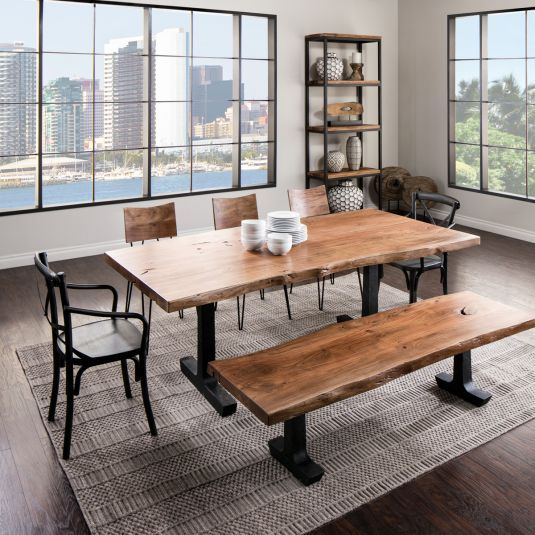 Boulevard | Dining Table With Bench, Unique Dining Tables Inside Unique Acacia Wood Dining Tables (Image 7 of 25)