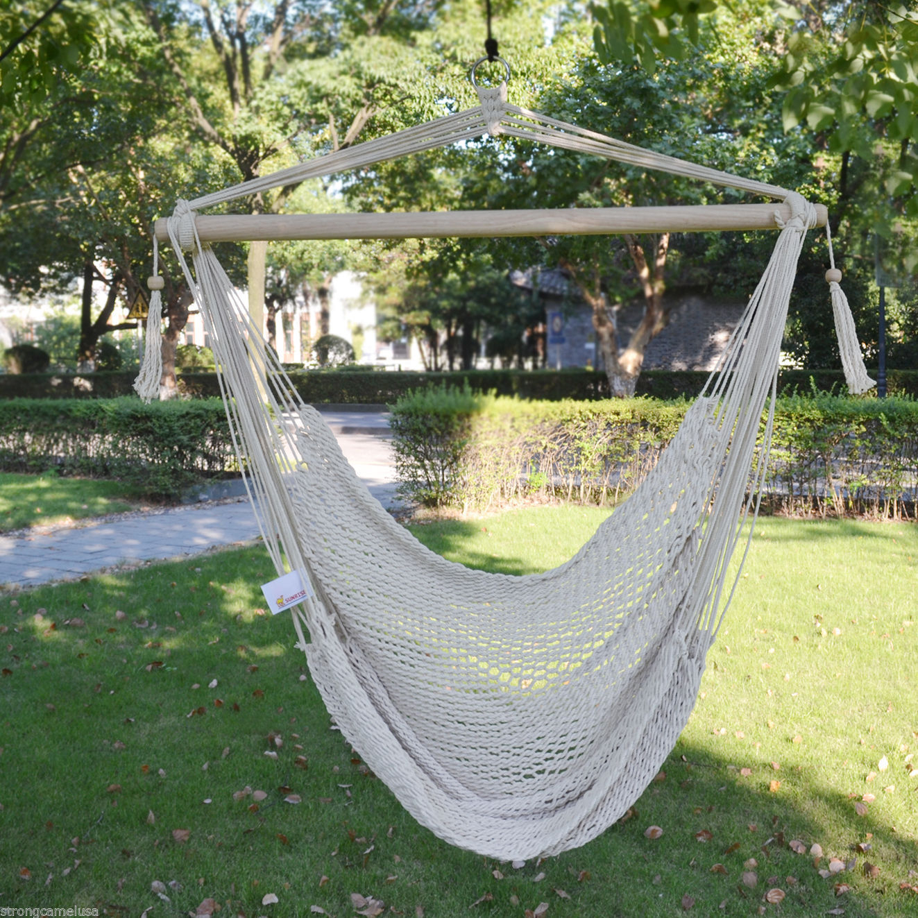 Brand New Hanging Swing Cotton Rope Hammock Chair Patio Porch Garden Outdoor Throughout Cotton Porch Swings (View 25 of 25)