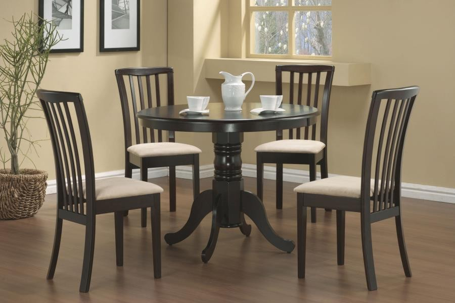 Brannan Casual Cappuccino Dining Five Piece Set | 101081 S5 Intended For Transitional Driftwood Casual Dining Tables (View 10 of 25)