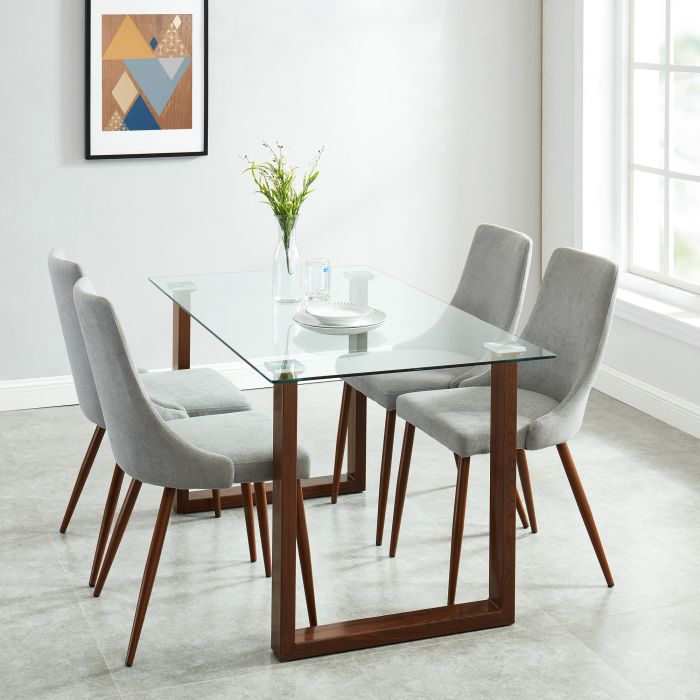 Brillcool Franco Clear Tempered 8Mm Glass Top Rectangular Dining Table In Walnut In Rectangular Dining Tables (View 20 of 25)