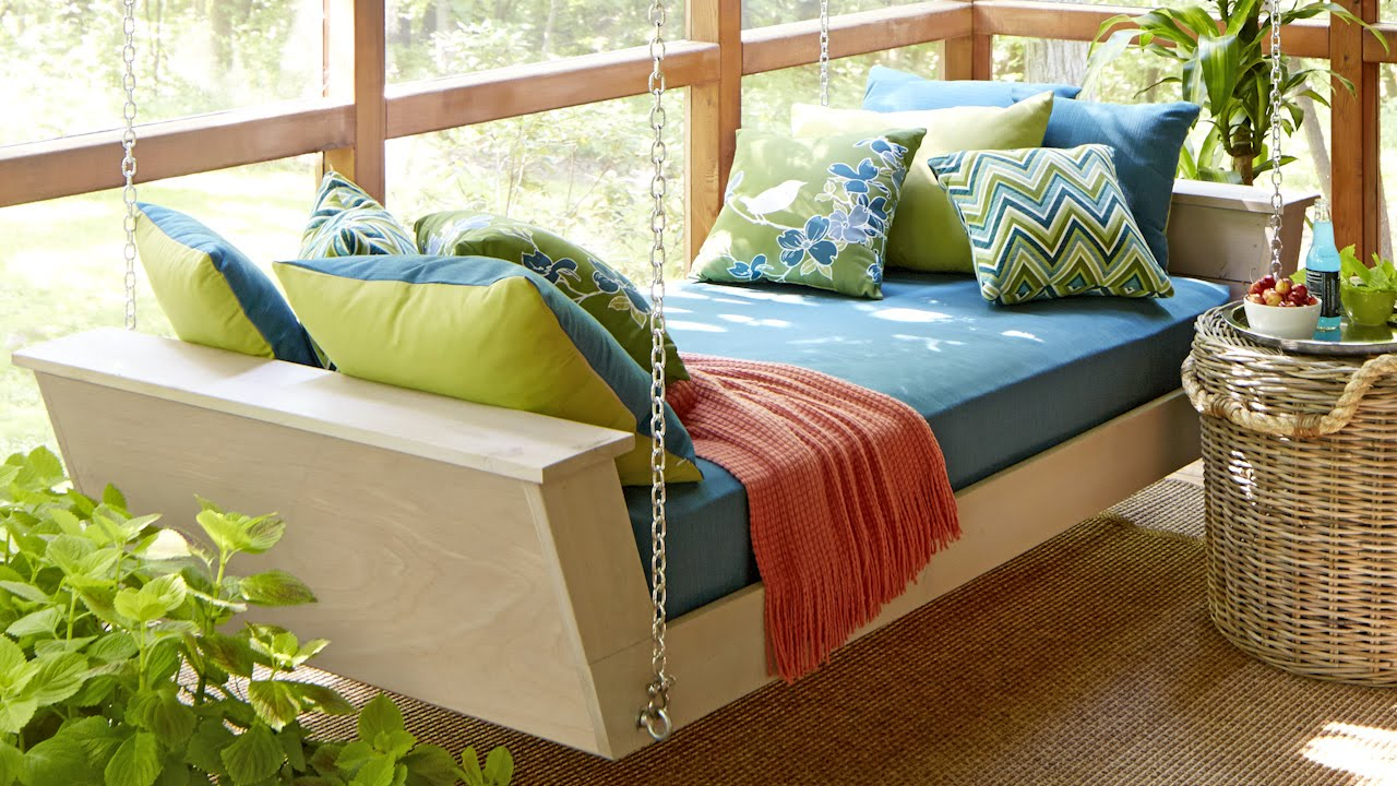 Brilliant Hanging Bed Swing Daybed Plan You Tube Diy With Intended For Hanging Daybed Rope Porch Swings (Image 8 of 25)