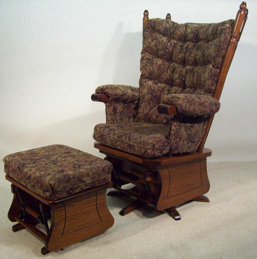 Brilliant Oak Glider Rocking Chair Amish Solid Rocker In Rocking Benches With Cushions (View 24 of 25)