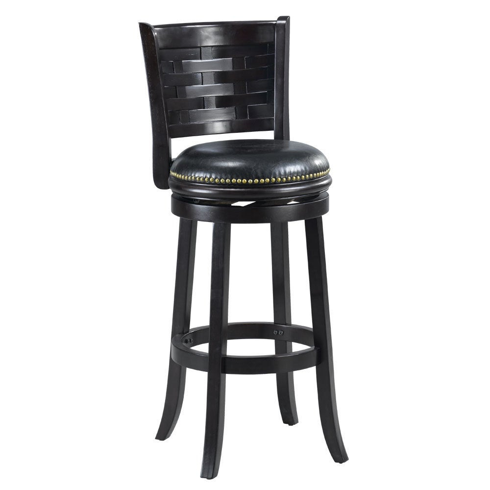 'brooklyn' Black Bi Cast Leather Woven Back Swivel Bar Stool For Woven High Back Swivel Chairs (Image 1 of 25)