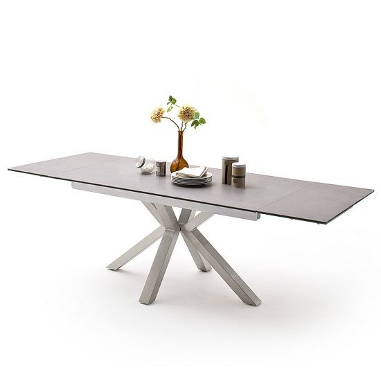 Brooky Glass Extendable Dining Table In Light Grey Steel Pertaining To Dining Tables With Brushed Stainless Steel Frame (View 2 of 25)