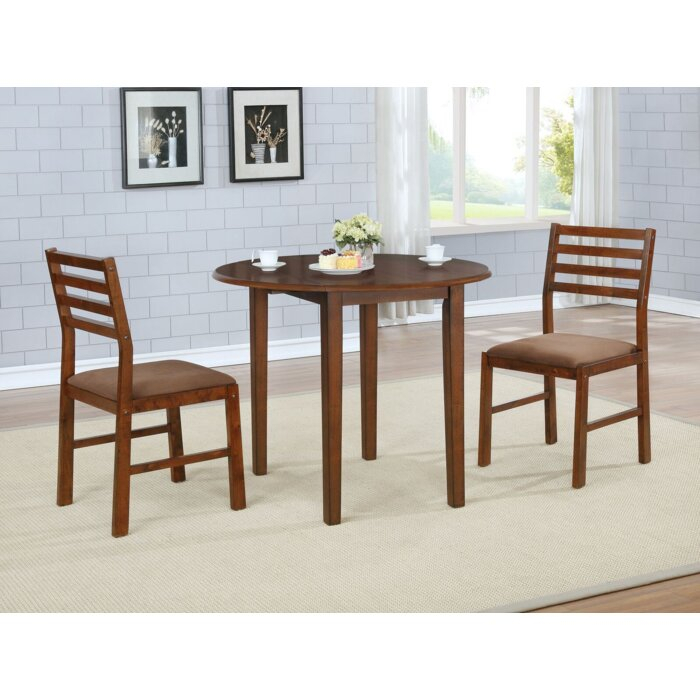 Broughton 3 Piece Drop Leaf Solid Wood Dining Set With Transitional 3 Piece Drop Leaf Casual Dining Tables Set (View 6 of 25)