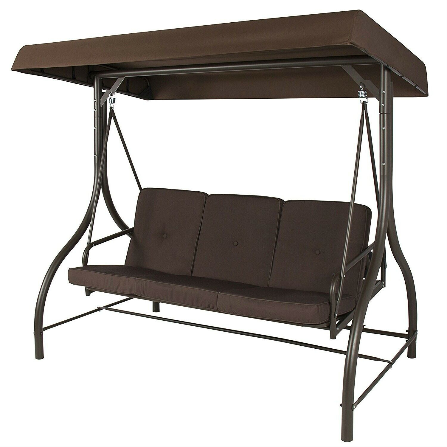 Brown 3 Person Outdoor Porch Swing With Canopy With 3 Person Brown Steel Outdoor Swings (View 18 of 25)