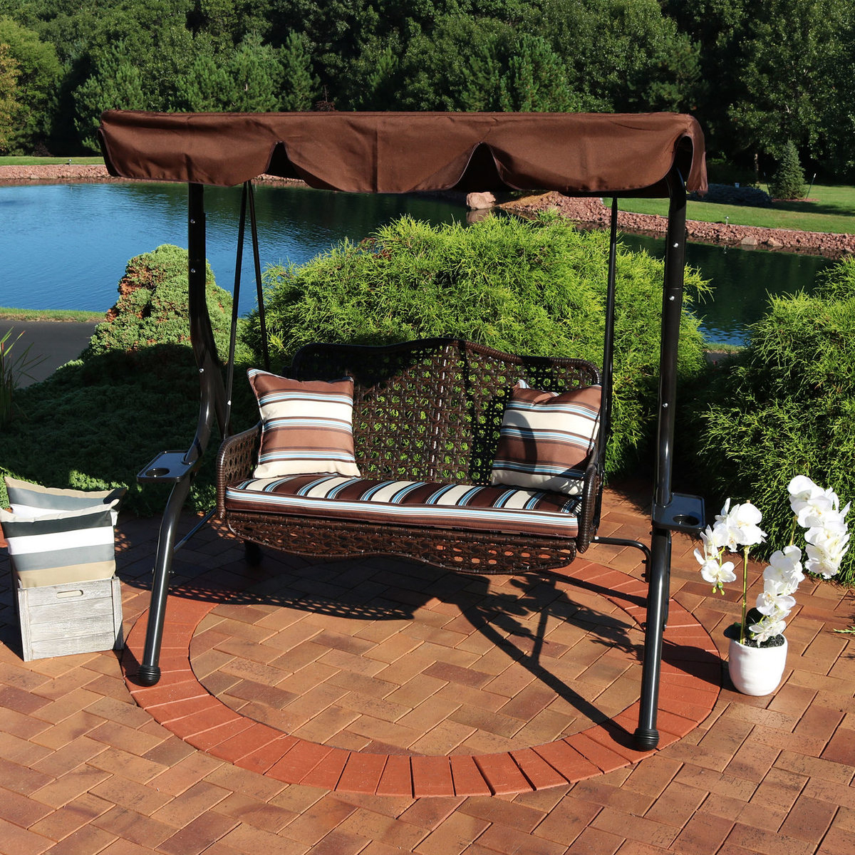 Brown Cushions And Pillow Included Sunnydaze 3 Person Within 3 Person Brown Steel Outdoor Swings (View 13 of 25)