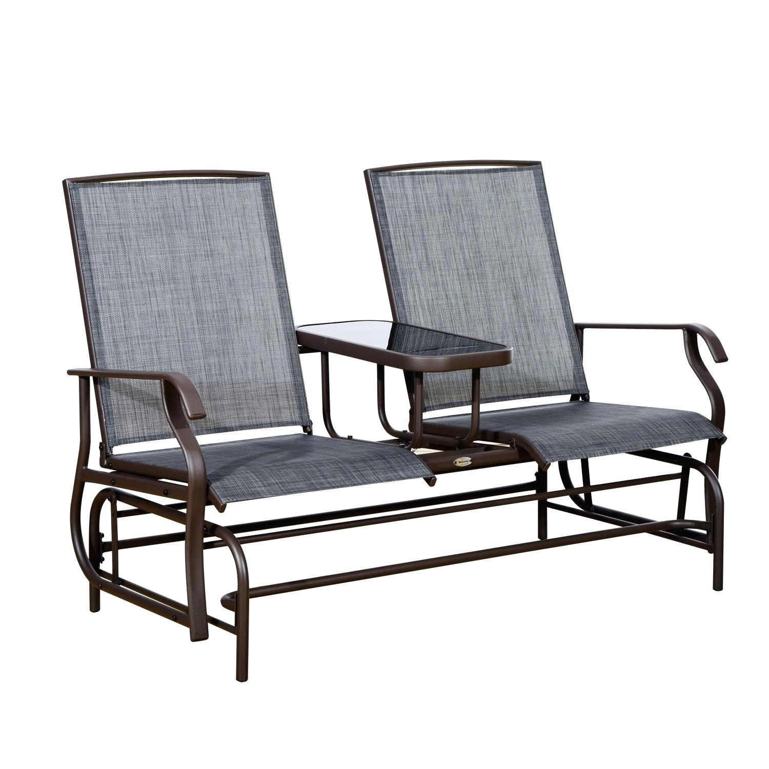 Brown Outdoor Furniture – Tacomexboston Throughout Aluminum Outdoor Double Glider Benches (View 7 of 25)