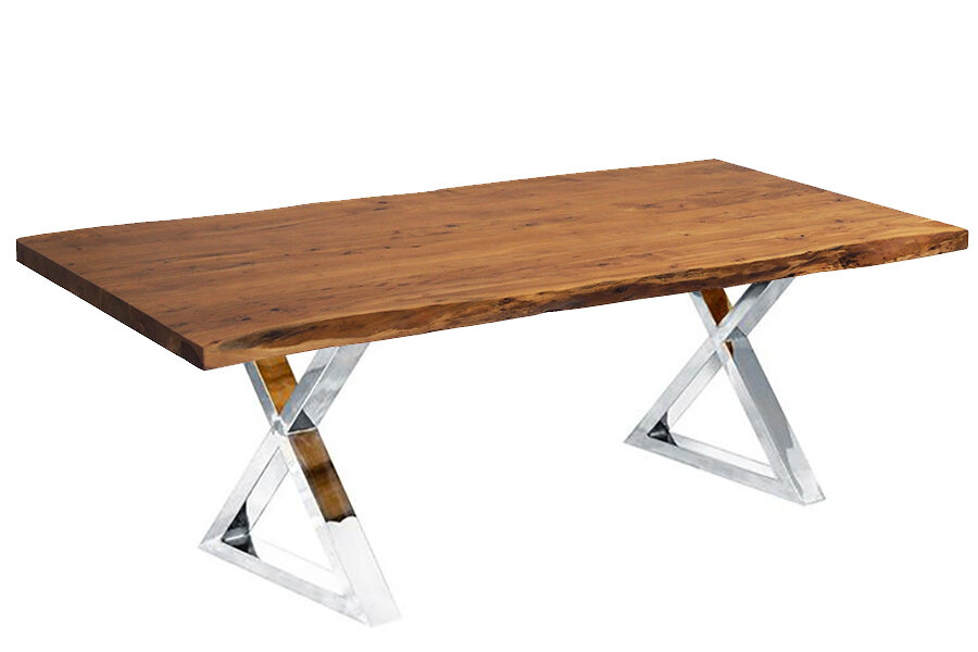 Bryant Live Edge Dining Table In Acacia Dining Tables With Black Rocket Legs (Image 5 of 25)