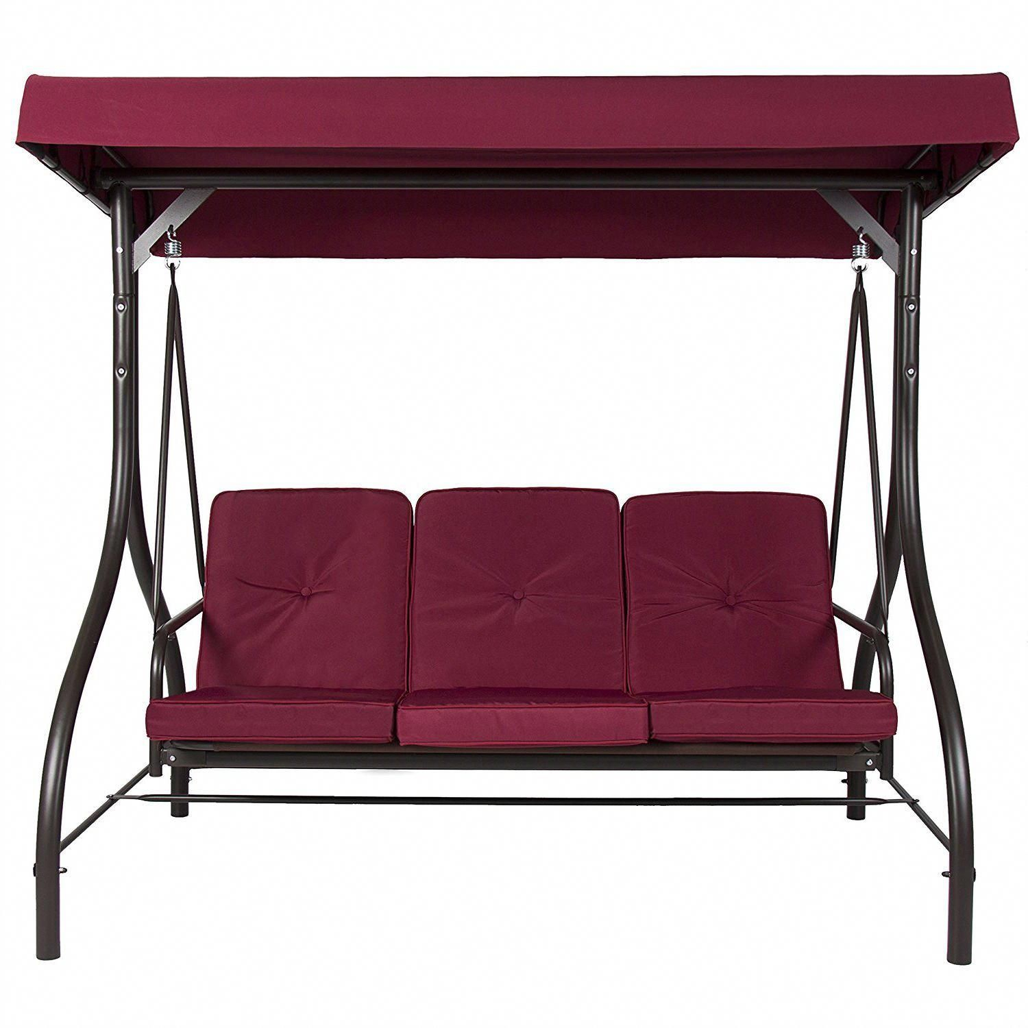 Burgundy Outdoor Patio Deck Porch Canopy Swing With Cushions Throughout Porch Swings With Canopy (View 8 of 25)