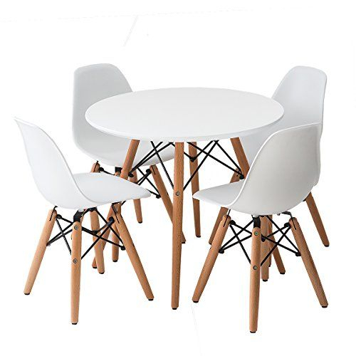 Buschman Set Of White Eames Style Kids Dining Room Mid Inside Eames Style Dining Tables With Wooden Legs (View 8 of 25)