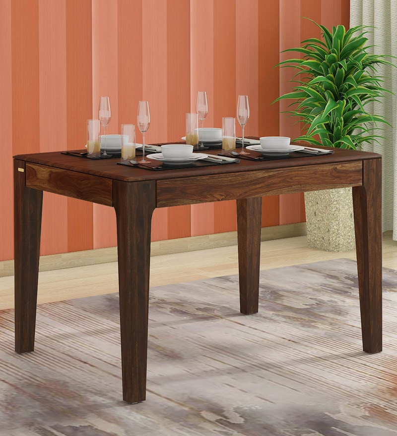 Buy Abbey Solid Wood 4 Seater Dining Table In Provincial Regarding Contemporary 4 Seating Oblong Dining Tables (View 21 of 25)