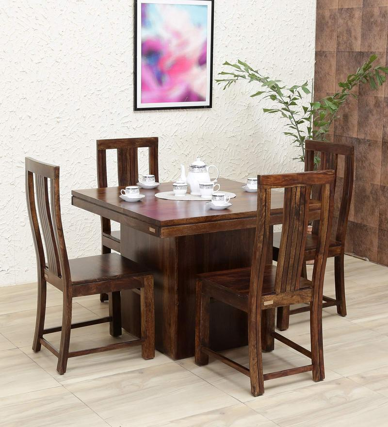 Buy Bogota Solid Wood Four Seater Dining Set In Espresso Pertaining To Espresso Finish Wood Classic Design Dining Tables (Image 3 of 25)