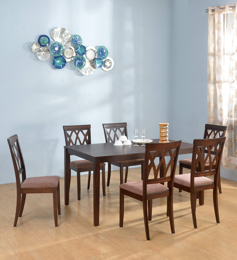 Buy Fern 6 Seater Dining Set In Erin Brown Finish@home Regarding Transitional 6 Seating Casual Dining Tables (Image 6 of 25)
