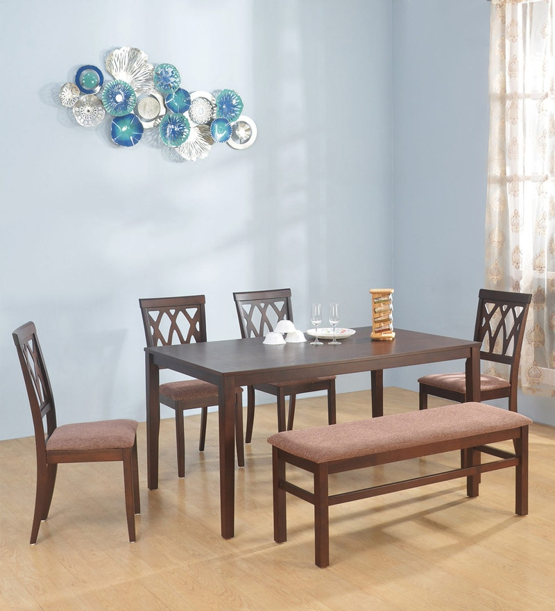 Buy Fern 6 Seater Dining Set In Erin Brown Finish@home With Regard To Transitional 6 Seating Casual Dining Tables (Image 7 of 25)