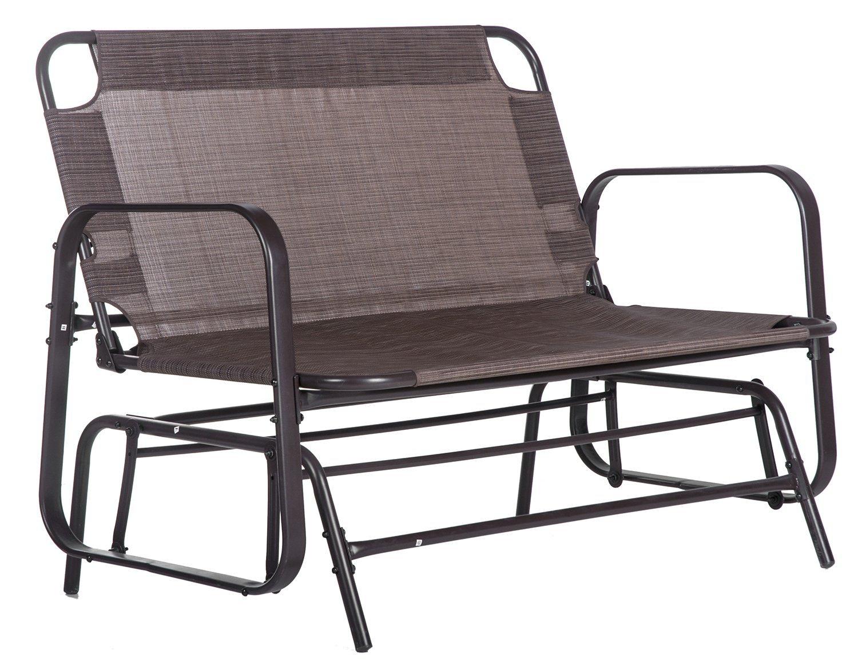 Buy Merax Patio Loveseat Glider Rocking Chair Garden Outdoor In Loveseat Glider Benches (View 13 of 25)