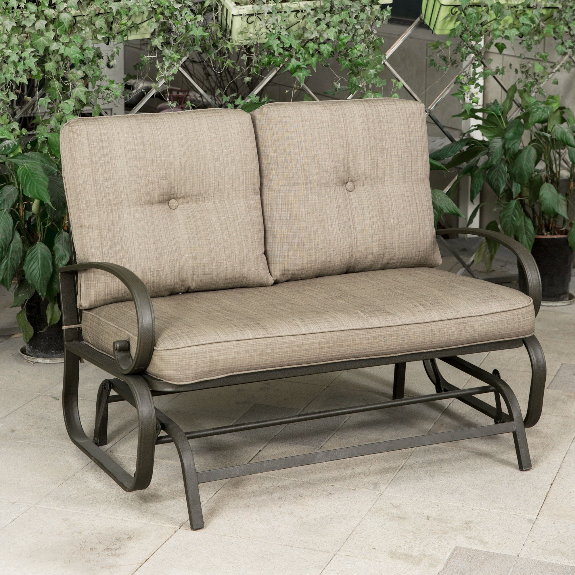 Buy Outdoor Patio Leisure Swing Rocker Glider Bench Loveseat Intended For Loveseat Glider Benches (View 23 of 25)